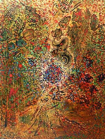 """Lech Kołodziejczyk """"Jesienna kosmogonia"""", 1998, olej na płótnie, dyptyk, wymiary 200x140 cm"""