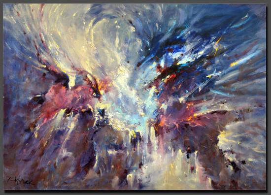 """Kornel Wilczek, """"Galaktyczny ocean"""", z cyklu """"Kosmos"""", olej na płótnie, wymiary 50x70 cm"""