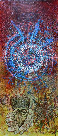 """10 Lech Kołodziejczyk, """"Kosmogonia z królem"""", 1991, olej na płótnie, wymiary 200x90 cm, obraz renesansowo barokowy"""