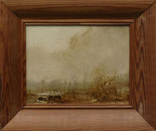 """1 Jerzy Duda-Gracz """"Hucisko 5"""", 1983, olej na płycie, wymiary bez ramy 17x22 cm, /Nr. Katalogowy Autorski 756/, / obrazy są oprawione w autorskie ramy, / NIEDOSTĘPNY"""
