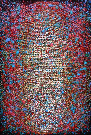 """12 Lech Kołodziejczyk, """"Pusta przestrzeń"""" z cyklu """"Głowy"""", 2016, olej na płótnie, wymiary 130x90 cm"""