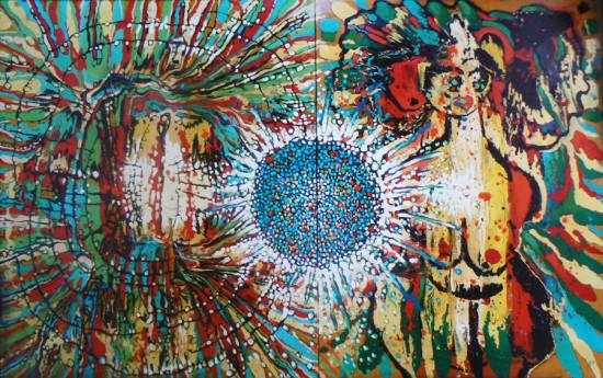 """Lech Kołodziejczyk, """"Kosmiczny spektakl"""", 2007, olej na płótnie, 150x230 cm"""