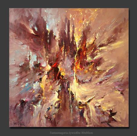 """Kornel Wilczek, """"Fantasmagoria żywiołów"""", olej na płótnie, wymiary 80x80 cm"""