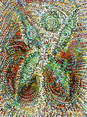 """Lech Kołodziejczyk, """"Płonąca ćma 3"""", 2007, olej na płótnie, wymiary 130x100 cm"""