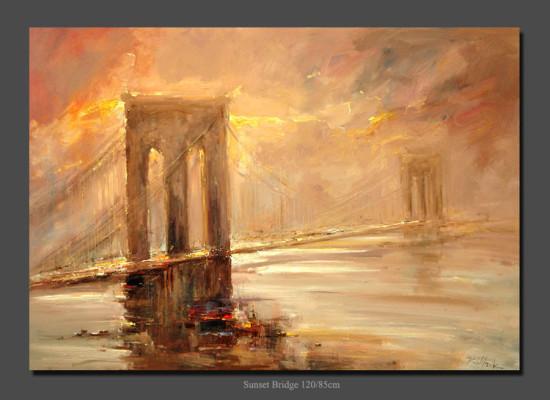 """Kornel Wilczek, """"Sunset bridge"""", olej na płótnie, wymiary 85x120 cm"""