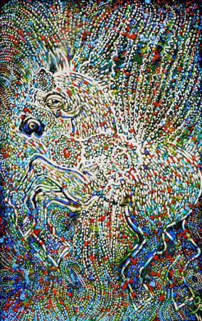 """Lech Kołodziejczyk, """"Pegaz szamana"""", 2001, olej na płótnie, wymiary 200x130 cm"""
