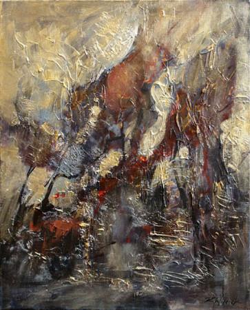 """8 Kornel Wilczek, """"Japoński ogród"""", technika autorska mearlin-metalic na płótnie, wymiary  80x65 cm"""