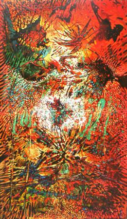 """7 Lech Kołodzejczyk, """"Kosmogonia"""" z cyklu """"Kosmogonie"""", 1989, olej na płótnie, wymiary 230x140 cm"""
