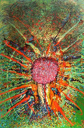 """8 Lech Kołodziejczyk, """"Zachód słońca"""", z cyklu """"Księga słońca"""", 2007, olej na płótnie, wymiary 200x150 cm"""
