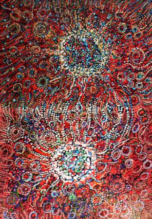 """9 Lech Kołodziejczyk, """"Dwa słońca"""", 2005, olej na płótnie, wymiary 200x140 cm"""