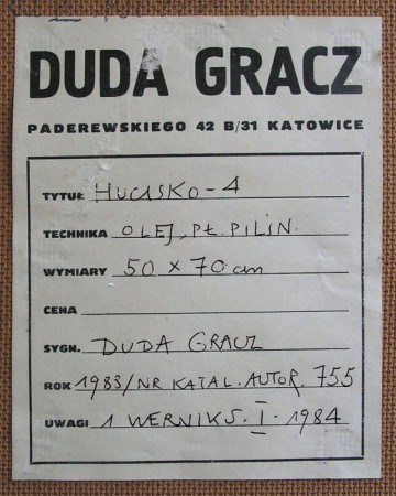 """Jerzy Duda -Gracz, Z cyklu """"Obrazy Jurajskie, Hucisko – 4"""", autorska naklejka"""