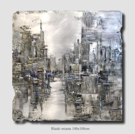 """Kornel Wilczek, """"Blaski miasta"""", technika autorska – Ars metallum, wymiary 100x100 cm"""