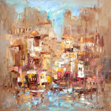 """2 Kornel Wilczek, """"Kolorowa sjesta"""", olej na płótnie, wymiary 60x60 cm"""