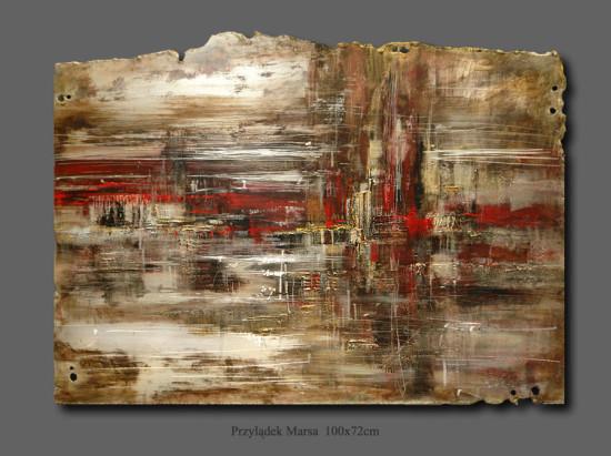 """Kornel Wilczek, """"Przylądek Marsa"""", technika autorska – Ars metallum, wymiary 72x100 cm"""
