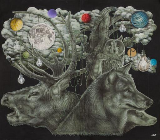 """Lawrence Morgan, """"Midnight"""", 2015, dyptyk, technika własna, akryl, ołówek na płycie, wymiary 118x134 cm"""