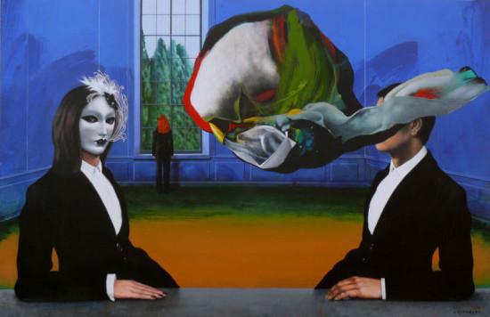 """5 Henryk Laskowski, """"Kobieta we wnętrzu I"""", 2013-2014, akryl, olej na płótnie, wymiary 110x170 cm"""