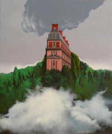 """6 Henryk Laskowski, """"Dwie chmury"""", 2013, akryl na płótnie, wymiary 54x46 cm"""