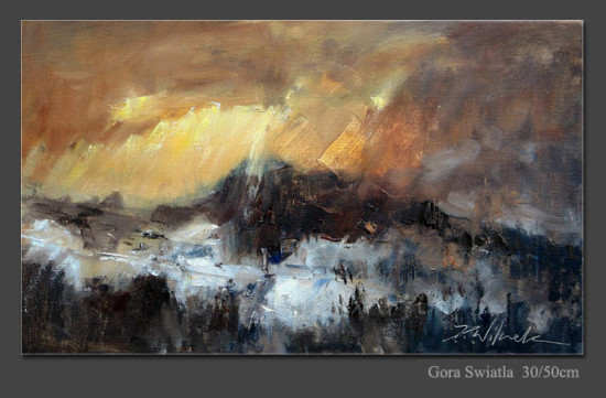 """Kornel Wilczek """"Góra światła"""", 2011, olej na płótnie, wymiary 30x50 cm, KOLEKCJA GALERII"""