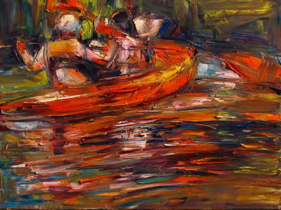 """Marta Lipowska """"Domn the River II"""", olej na płótnie, wymiary 60x80 cm, /519"""