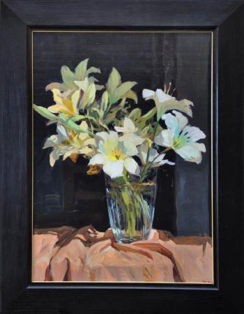 """Janusz Szpyt, """"Lilie"""", 2014, olej na desce, wymiary 66x47,5 cm"""