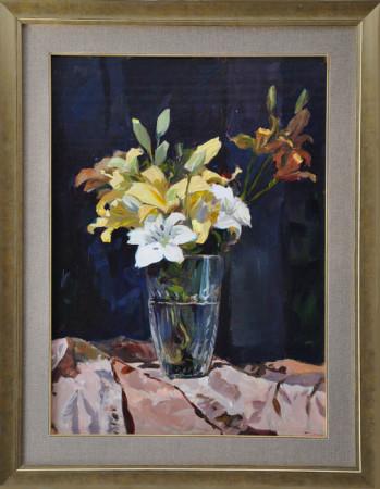 """Janusz Szpyt, """"Lilie"""", 2014, olej na desce, wymiary 70x55 cm"""