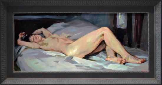 """Janusz Szpyt, """"Maja"""", 2015, akryl na desce, wymiary 30x69 cm, / WYMIARY OBRAZÓW SĄ PODANE BEZ RAM"""
