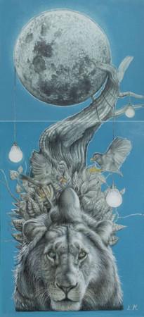 """Lawrence Morgan, """"Moon lights"""", technika mieszana, akryl, na płycie, dyptyk, wymiary 192x89x8 cm, / SPRZEDANY"""