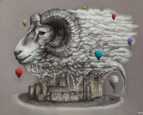 """Lawrence Morgan, """"Cloud"""", 2015, technika własna, akryl, ołówek na płycie, wymiary 96x118 cm"""