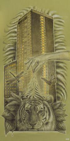 """Lawrence Morgan, """"Just a pinch"""", 2014-2015, dyptyk, technika własna, akryl, ołówek na płycie, wymiary 180x89x8 cm"""