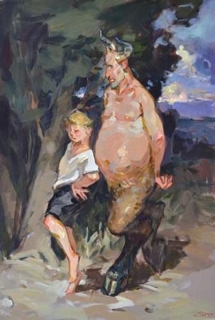 """Janusz Szpyt, """"Faun, przytulne krzaczory"""", 2015, akryl na desce, wymiary 44x30 cm"""