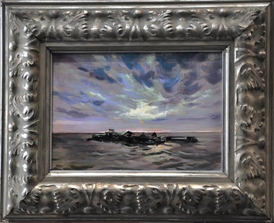 """Janusz Szpyt, """"Przystań na Chong Khneas"""", 2015, akryl na desce, wymiary 22x31 cm"""