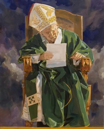 """Janusz Szpyt, """"Jan Paweł II"""", 2011, akryl na dłótnie, wymiary 109x84 cm"""