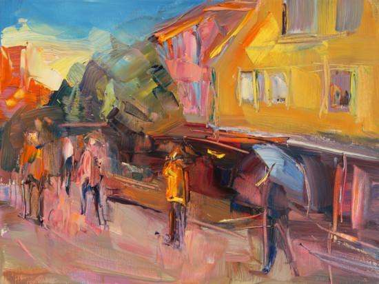 """Marta Lipowska """"W Bergen"""", olej na płótnie, wymiary 30x40 cm, /769"""