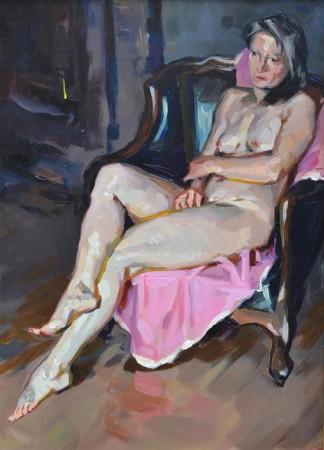 """Janusz Szpyt, """"Siedząca"""", 2015, olej na desce, wymiary 48x25 cm"""