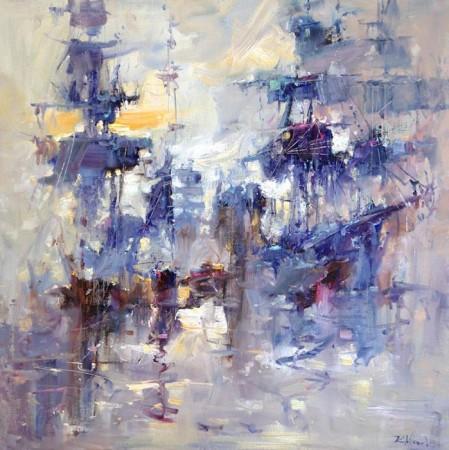 """Kornel Wilczek """"Błękitna marina"""", olej na płótnie, wymiary 80x80cm"""