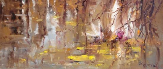 """Kornel Wilczek """"Jesień na wodzie"""", olej na płótnie, wymiary 30x70cm"""