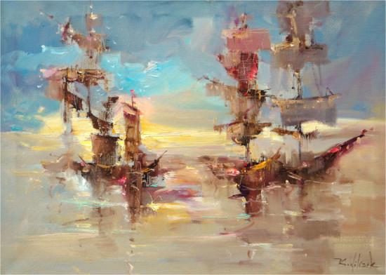 """Kornel Wilczek, """"Letnia marina"""", olej na płótnie,  wymiary 50x70 cm"""