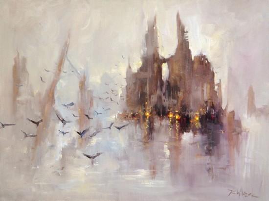 """Kornel Wilczek """"Tajemnica zamku mgieł"""", olej na płótnie, wymiary 60x80cm"""