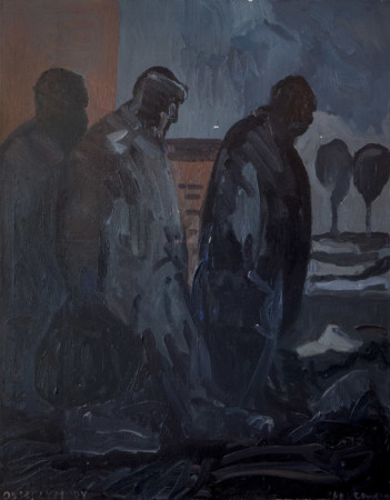 """Edward Dwurnik, cykl """"Sportowcy-XV""""""""Obszczymury"""", 1985, olej na płótnie, wymiary 146x114 cm"""