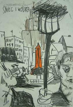 """Edward Dwurnik,    """"Snieg i wódka"""", 1986, ołówek, kredki, węgiel, stemple na papierze, wymiary 37,2x24,9 cm, >/KOLEKCJA GALERII"""