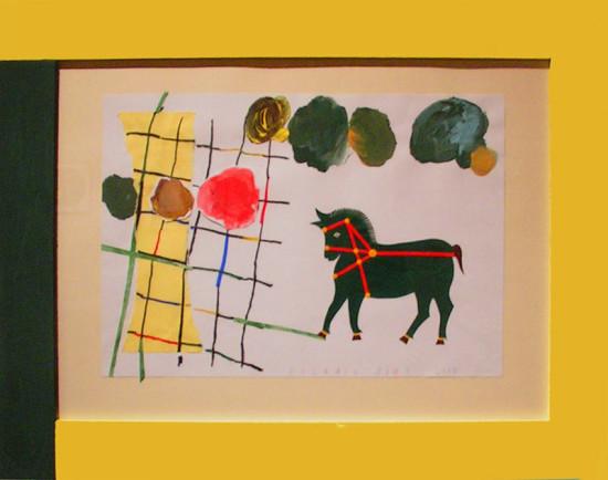 """9.  Yolanta Nikt, """"Zielony konik"""" , 2015, kolaż, na papierze, /z wycinanką Genowefy Pabich /,  wymiary 35x50 cm"""