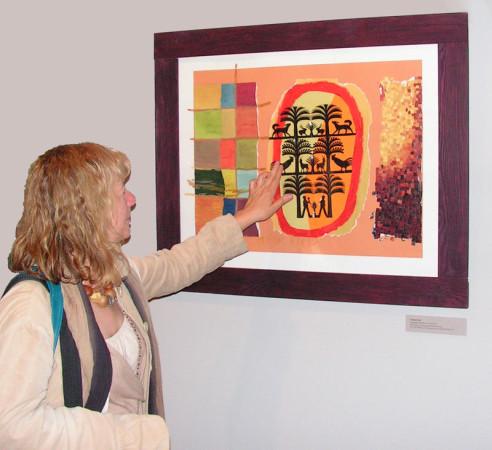 """8.  Yolanta Nikt,  """"Drzewka i zwierzęta , kolaż, na papierze z wycinanką, wymiary 35x50 cm, / Autorka oprowadza po wystawie i malowniczo opowiada o Swoich obrazach"""