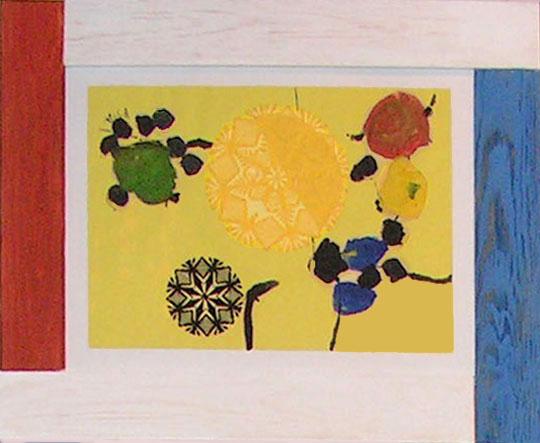 """11.  Yolanta Nikt, """"Kompozycja"""" , 2015, kolaż, na papierze,  wycinanka, wymiary 35x50 cm"""