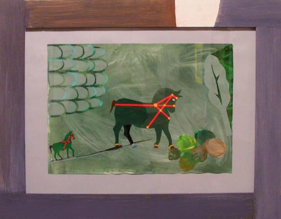 """14.  Yolanta Nikt, """"Dwa koniki"""" , 2015, kolaż, na papierze,  wycinanka, wymiary 35x50 cm"""