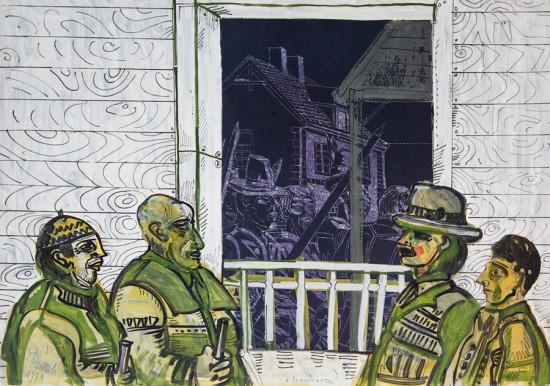 """Edward Dwurnik,    """"Bramkarze"""",  1971 tusz, linoryt, gwasz, wymiary 43x61 cm, /KOLEKCJA GALERII"""