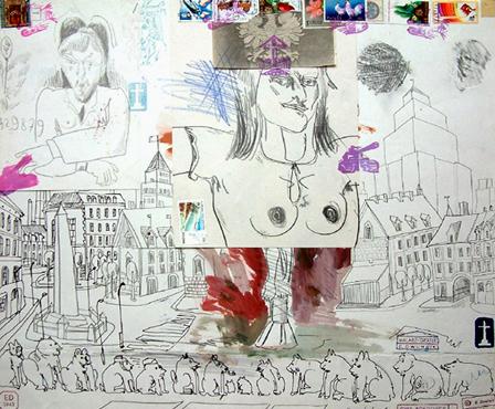 """Edward Dwurnik,    z cyklu """"Robotnicy"""",  """"Na zachodnim placu"""", X.1980, ołówek, farby wodne, ksero, stemple, znaczki pocztowe na papierze, rysunek 5550, wymiary 49x58,3 cm, /KOLEKCJA GALERII"""