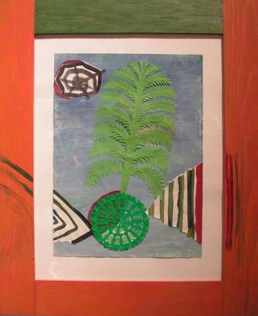 """2.  Yolanta Nikt, """"Drzewka"""" , 2015, kolaż, na papierze, wymiary 63x30 cm, / WSZYSTKIE OBRAZY SĄ OPRAWIONE W RĘCZNIE WYKONANE AUTORSKIE RAMY"""