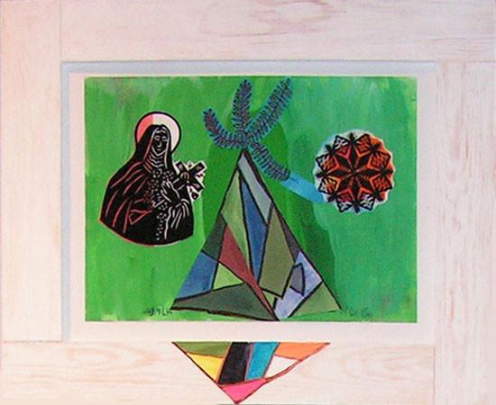 """16.  Yolanta Nikt, """"Kubistyczna góra ze św. Tereską"""" , 2015, kolaż, na papierze, / z wycinanką Apolonii Nowak /, wymiary 30x42 cm"""