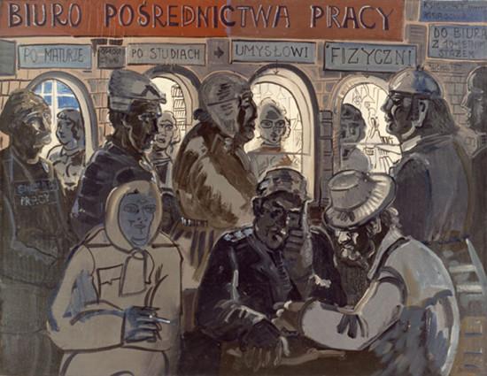 """Edward Dwurnik,    """"Pośredniak, 1977, olej na płótnie, wymiary 146x114 cm"""