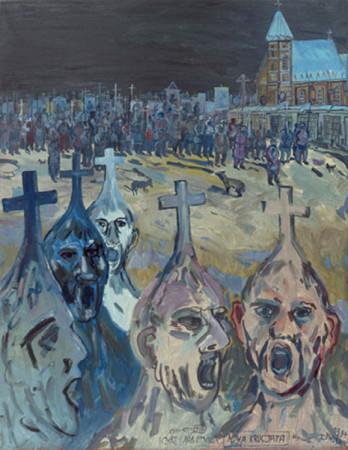 """Edward Dwurnik,    """"Nowa krucjata, 1984, olej na płótnie, wymiary 146x114 cm"""